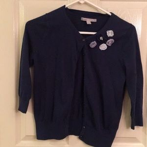 Blue cardigan with flower details